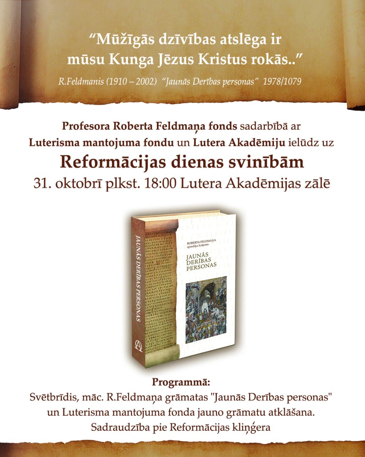 Reformācijas dienas svinības 31. oktobrī Lutera Akadēmijā